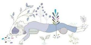 drawing of person doing Restorative Yoga